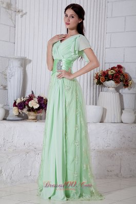 Apple Green Empire V-neck Beading Prom Evening Dress