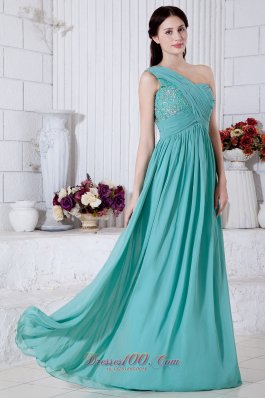 Empire One Shoulder Prom Dress Chiffon Appliques
