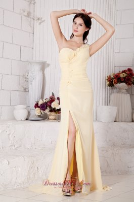 Yellow Empire Hand Floral Prom Evening Dress Chiffon