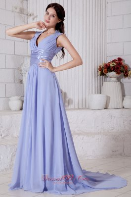 Lilac Empire V-neck Beading Prom Evening Dress Chiffon
