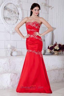 Red Mermaid Sweetheart Evening Dress Taffeta Appliques