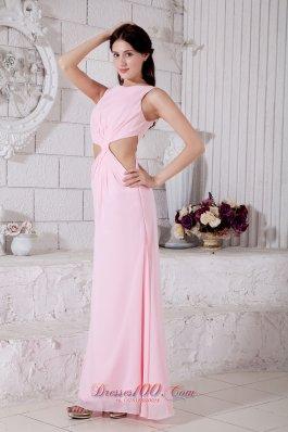 Fashion Pink Prom Dress Empire Bateau Chiffon