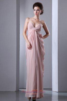 Pink Column Spaghetti Straps Prom Dress Chiffon