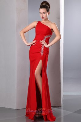Red Chiffon Prom Holiday Dress Silver Beading Beaded