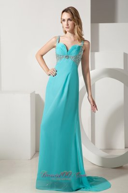 Aqua Blue Column Straps Chiffon Beading Prom Evening Dress