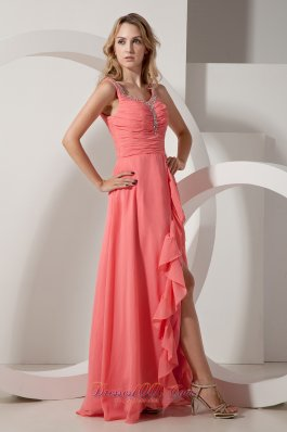 Fashion Red Empire V-neck Chiffon Beading Prom Dress