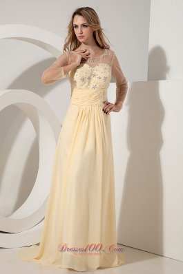 Yellow Empire Scoop Beading Prom Dress Train Chiffon