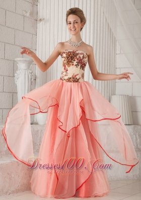 Column Strapless Organza Appliques Prom Evening Dress