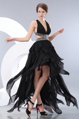 Special Black Empire Evening Dress Chiffon Beading