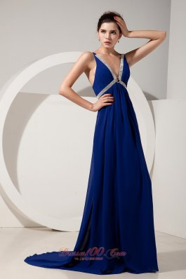 Peacock Blue V-neck Prom Dress Empire Chiffon Beading