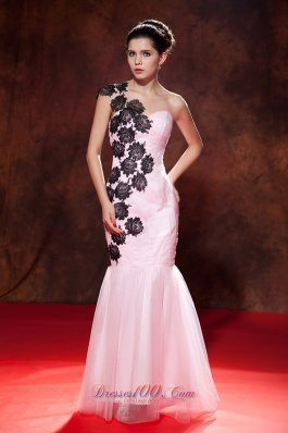 Pink Prom Evening Dress Mermaid Embroidery Organza