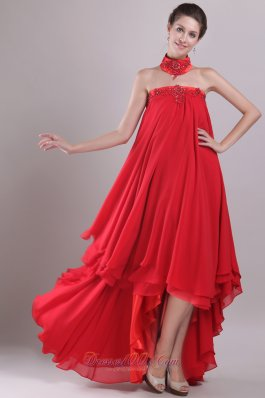 Red Strapless High-low Chiffon Embroidery Prom Dress