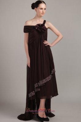 Brown Asymmetrical High-low Chiffon Beading Prom Dress