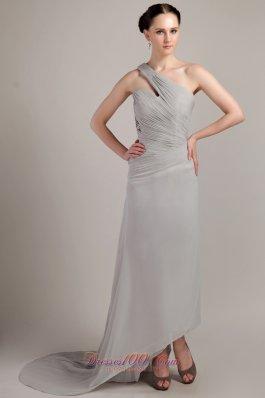 Grey Empire One Shoulder Chiffon Ruch Prom Dress