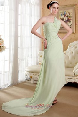 Apple Green Empire One Shoulder Chiffon Prom Dress