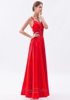 Red Column Sheath Spaghetti Straps Prom Dress Taffeta