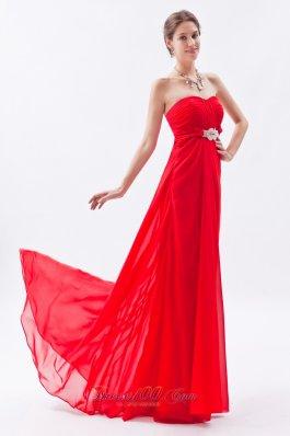 Red Empire Strapless Prom Dress Chiffon Beading