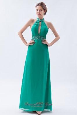 Turquoise Column Sheath Prom Dress Backless Chiffon
