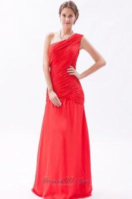 Red Column Sheath Prom Dress Chiffon Ruch Floor-length