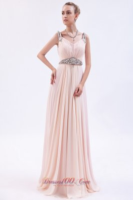 Pink Empire Straps Prom Dress Chiffon Beading Brush