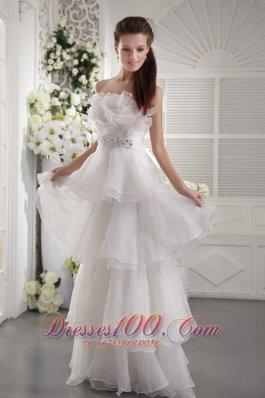 Empire Strapless Organza Beading Prom Evening Dress