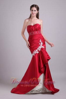 Red Mermaid Sweetheart Taffeta Beading Prom Dress