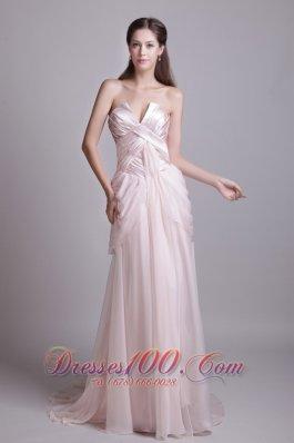 Pink Empire Strapless Brush Chiffon Pleat Prom Dress