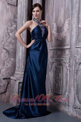 Navy Blue Prom Evening Dress Column Halter Elastic Woven