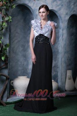 White Black Column Evening Dress V-neck Chiffon Beading