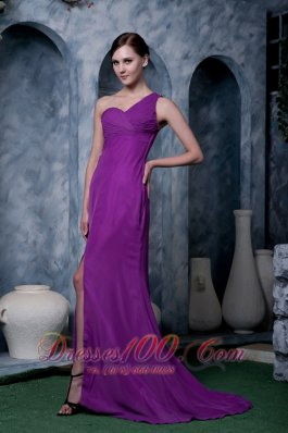 Eggplant Purple Column Prom Homecoming Dress Chiffon