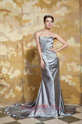 Grey Column Strapless Silk Satin Beading Prom Dress
