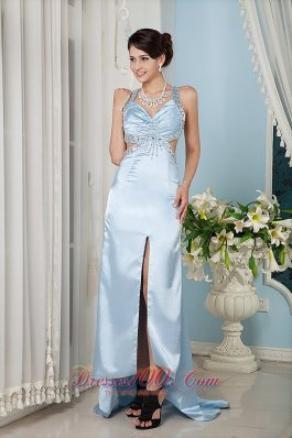 Light Blue Column Straps Prom Evening Dress Satin Beading Train