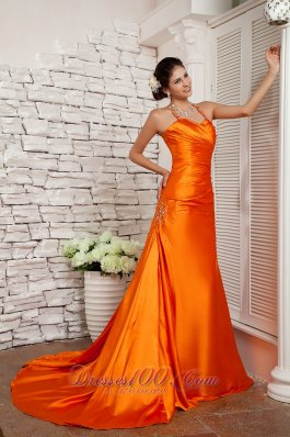 Orange Red A-line Straps Prom Evening Dress Elastic Woven