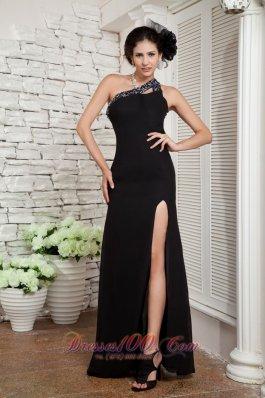 Empire Black Evening Dress One Shoulder Chiffon Beading
