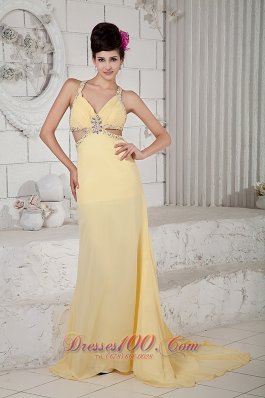 Fashion Light Yellow Empire Evening Dress Straps Chiffon