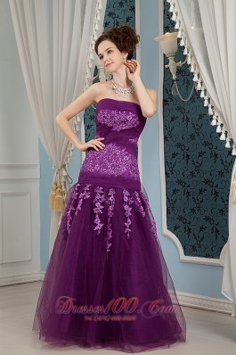 Purple Prom Dress Column Strapless Embroidery Tulle