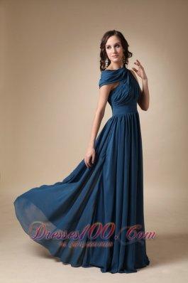 Navy Blue Empire Ruch Chiffon Prom Evening Dress