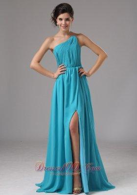 Strapless Chiffon Slit Aqua Blue Brush Prom Dress