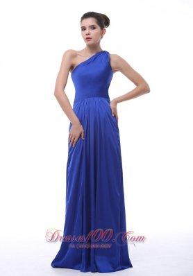 Royal Blue One Shoulder Taffeta Bridesmaid Dress