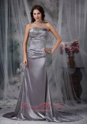 Grey Column Beading Elastic Wove Satin Prom Dress