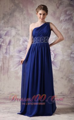 Blue Evening Dress Empire Chiffon Beading Brush