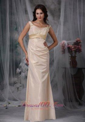 Champagne Column Floor-length Satin Prom Evening Dress