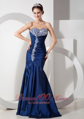 Formal Modern Navy Blue Mermaid Prom Pageant Dress with Ruch Beading