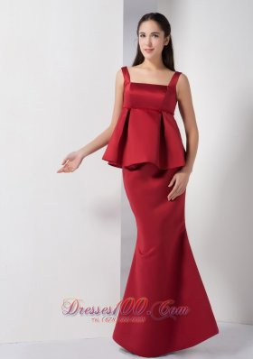 Super Hot Wine Red Mermaid Straps Bridesmaid Dress Satin