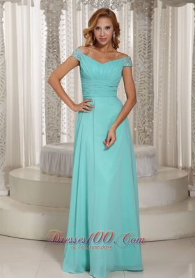 Apple Green Blue Ruched Bodice Custom Prom Dress Beading