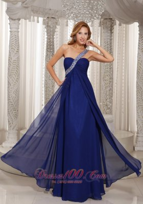 Formal Navy Blue Empire Beading Celebrity Evening Dress