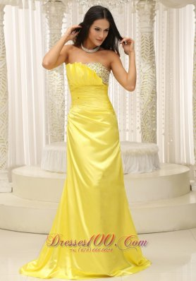 Yellow Strapless Ruch Beading Prom Dress Custom Made
