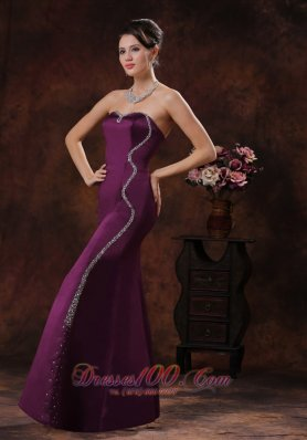 Custom Mermaid Dark Purple Mother Of The Bride Evening Dress