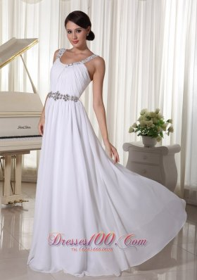 Beaded Straps Waist White Evening Chiffon Empire Prom Dress