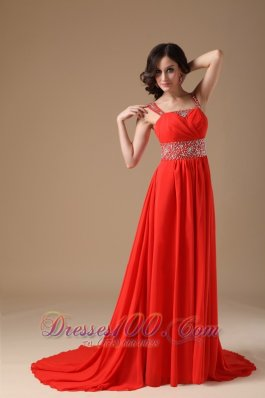 Red Evening Dress A-line Straps Chiffon Beading Court Train